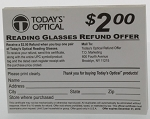 Today's Optical $2.00 Rebate Pad